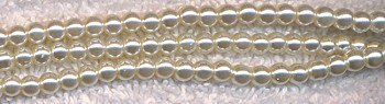 Glass Pearls, 4mm CREAM WHITE