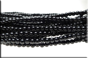 4mm Round Glass Pearls BLACK