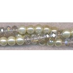 Glass Pearls and Crystal Beads Mix, Cream and Crystal AB, 8mm