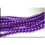 6mm Round Glass Pearls PURPLE