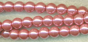 Glass Pearls, 4mm MAUVE PINK