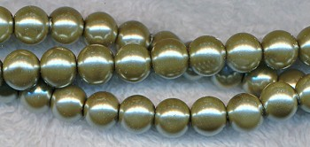 Glass Pearls, 8mm GOLD PYRITE