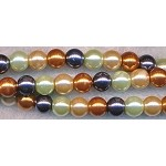 6mm Round Glass Pearls Designer Mix GOLDEN CREAM