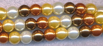Glass Pearls, 8mm CREAM GOLD BRONZE Designer Mix