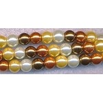 6mm Round Glass Pearls Designer Mix GOLD tones