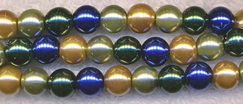 Glass Pearls, 8mm GOLD OLIVE EMERALD SAPPHIRE Designer Mix
