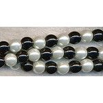 ZSOLDOUT - Glass Pearls, 8mm BLACK and WHITE