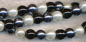 Glass Pearls, 6mm WHITE BLACK HEMATITE MIX