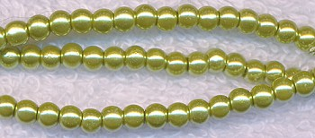 4mm Golden Chartreuse Glass Pearls