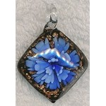 Murano Style Glass Pendant, Diamond Flower Glass Focal, Blue Black