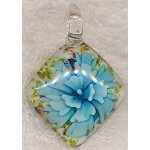 Blue White Flower Pendant, Glass