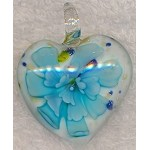 Heart Flower Glass Focal, Blue-White Lampworked Glass Pendant