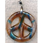 Peace Sign Pendant Necklace, Bailed Glass Blue Topaz