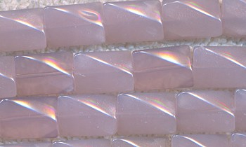 Jade Beads, Pink Rectangle 16x10mm Wavy