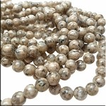 Jasper Beads, 8mm Round Spotted Natural