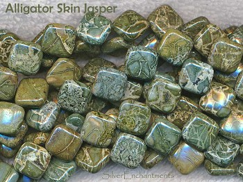 14mm Alligator Jasper Diamond Beads