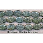 Alligator Jasper Beads, Oval 18x13mm Heartstone