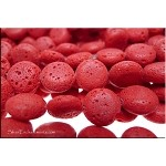 Lava Beads, Coral Red Coin 14mm