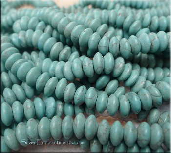8mm Rondelle Turquoise Magnesite Beads