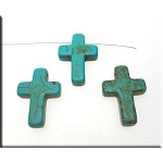 ZSOLDOUT - Turquoise Bead Pendants, Cross 25x18mm