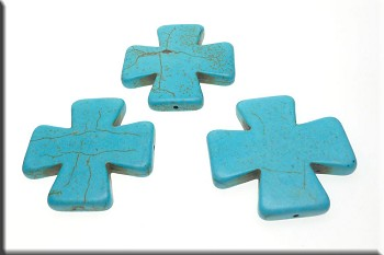 Large Turquoise Magnesite Cross Beads