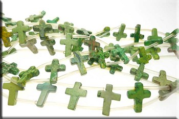 Turquoise Beads, Green Cross 12x16mm Double-Drilled - SOLDOUT