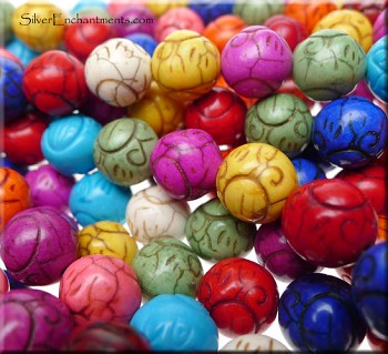 12mm Round Mulitcolor Magnesite Beads Carved