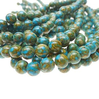 ZSOLDOUT - Turquoise Beads, Round 10mm Mosaic