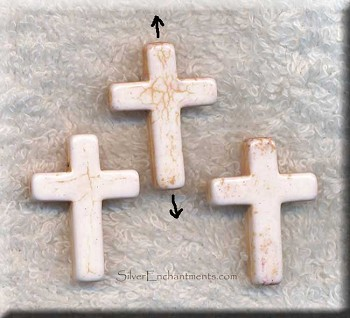Stone Cross Pendant Bead, 30x22mm