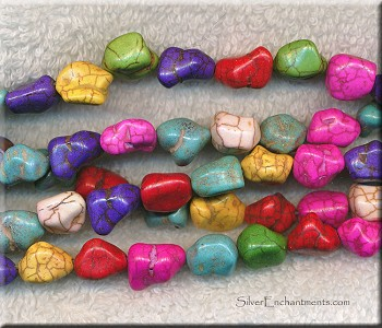 Mixed Colors Magnesite Beads avg 14x10x9mm Nuggets