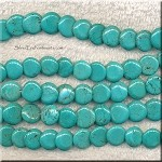 Turquoise Beads, Coin 12mm Offset Overlapping