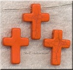 Orange Magnesite Cross Beads