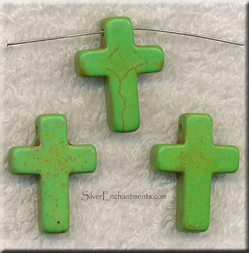 24mm Green Magnesite Cross Beads