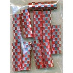 Red and Silver Checker-Print Large Hole Tube Beads, Bulk 10pc