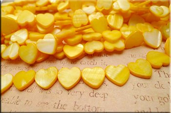 Mother of Pearl Beads, 15mm Yellow Heart Beads