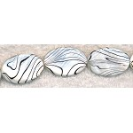 Mother of Pearl Beads, Black and White 30x20mm Oval