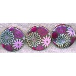 SOLDOUT - Mother of Pearl Beads, 30mm Purple Floral Coin