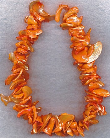 Peach Mother of Pearl Necklace Beads, Freeform