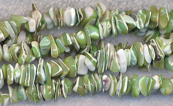 Mother of Pearl Chips, Peridot Green
