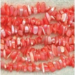 Mother of Pearl Beads, Mother of Pearl Chips, Orange-Pink-Coral