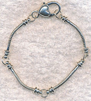 Big Hole Bracelet, European-style Large Hole Charm Bracelets with Heart Lobster Closure, Silver Plated
