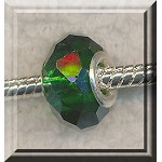 Crystal Big Hole Beads, EMERALD Faceted Rondelle