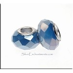 PERIWINKE BLUE VIOLET European Style Large Hole Bead, Faceted Glass with Silver-finished Brass Metal Grommets, Big Hole Faceted Rondelle, 4.5mm Hole (1)