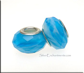 AQUAMARINE Hurricane Swirl European Style Large Hole Bead, Faceted Glass with Silver-finished Brass Metal Grommets, Big Hole Faceted Rondelle, 4.5mm Hole (1)