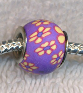 Purple Polymer Clay Large Hole Beads, Floral