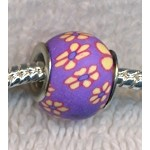 Purple Floral Polymer Clay Large Hole Beads, Big Hole Beads