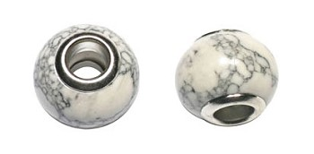 White Turquoise Magnesite Large Hole Beads, Stone Big Hole Beads, Grey-White Marbled (10)