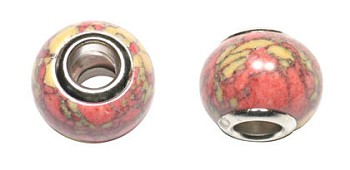 Stone Large Hole Bead, Multicolor Gemstone Big Hole Bead