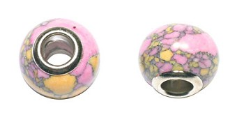 Stone Large Hole Beads, Multicolor Big Hole Beads