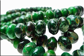 12mm Rondelle Green Sea Sediment Jasper Beads